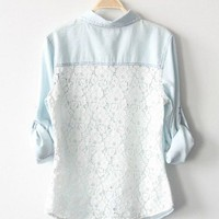 Light Blue Denim Shirt Lace Back