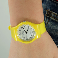 Plastic Yellow Quartz Watch