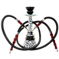 Never Exhale (TM) 10&quot; 2 Hose Hookah Shisha Narghile Complete Set - Cheetah Leopard Skin Design - Pick Your Color