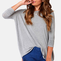 Thrilling Me Softly Grey Long Sleeve Top