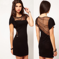 Rules of fold splicing backless dress
