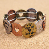Love Joy and Peace Bottom Shape Stretch Bracele