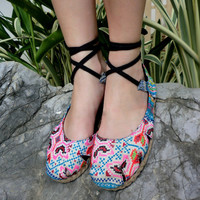 Espadrille With Ankle Wrap Hmong Embroidery &amp; Batik, Flat Womens Shoe,