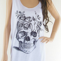 Skull Flowers (Size M) Skull Design Art Shirt Zombie Tank Top Women Shirt Skull Shirt Skull Tank Tops Tunic Vest White T-Shirt Size M