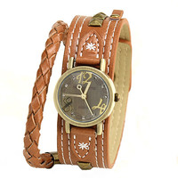 Vintage Rivet Knitted Leather Wrap Watch from FUNKISS