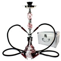 "Never Exhale TM 22"" Swirls 2 Hose Hookah Shisha - Abstract Multi Watercolor Swirl Glass Vase W/ Matching Jewel Stem Design - Travel Case Included - Pick Your Color"