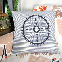 LABYRINTH PILLOWCASE - hand screen printed, organic cotton, hemp, meditation, 20x20, striped pillowcase, eco friendly, blue and white