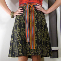 BATIK WRAP SKIRT - black and gold, geometric print, diamond pattern, african print, a-line knee lengths skirt, adjustable waist, tribal