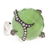Green Cats Eye Diamond-Set Ring, Size 7