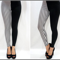 Black and White Striped Two Tone leggings