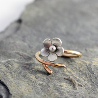 Cherry Blossom Branch RIng, Gold filled Branch, adjustable ring, Gifts for her, Twig Ring, Gold filled and Silver ring