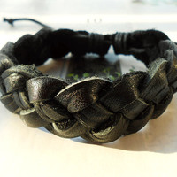 Spring Gift West cowboy High Quality Black Leather Braid Multilayer Weaved  Retro Fashion Wrap Bracelet W-53