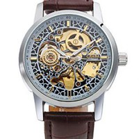 Men's Hollow Engraving Mechanical PU Leather Wrist Watch