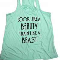 Look Like A BEAUTY train like a BEAST Flowy Workout Tank top Womens clothing fitness gym Mint