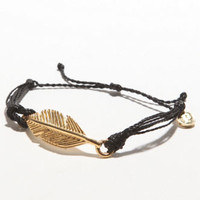 Pura Vida Black Leaf Bracelet at PacSun.com
