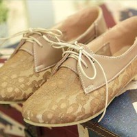 Elegant Khaki Hollow Lace Shoes from ABIGALE