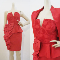 80s Dress Vintage Strapless Peplum Red Cocktail Party Mini with Bolero Jacket M