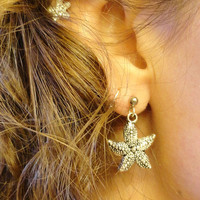 Silver Starfish Post Stud Earrings