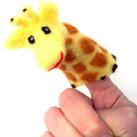 Needle felted Giraffe Finger puppet