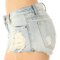 Obey Short Leather &amp; Lace Denim Destroy
