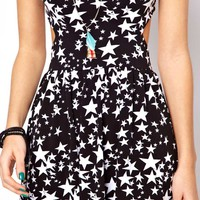 ASOS Sundress In Star Print With Strap Back