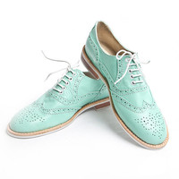mint oxford brigue shoes  FREE WORLDWIDE SHIPPING by goodbyefolk
