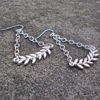 Dangly silver leaf earrings - dangly modern drape chain earrings - leaf earrings - silver earrings by Sparkle City Jewelry