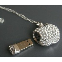 High Quality 8gb Apple Crystal Jewelry USB Flash Memory Drive Necklace: Computers & Accessories