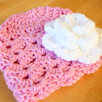 Baby girl crochet hat - white flower, pink - Newborn Baby to 12 Months - Photo Prop