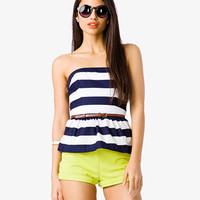 Striped Peplum Tube Top