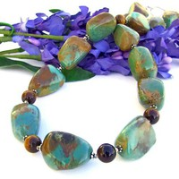 Handmade Chunky American Turquoise Necklace Tigers Eye Gemstones OOAK