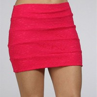 Fuchsia Lace Banded Mini Skirt