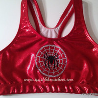 Spidey  Metallic Sports Bra Cheerleading by SparkleBowsCheer