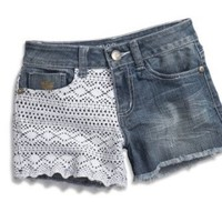 Amazon.com: GUESS Kids Girls Big Girls Denim Shorts W/ Crochet Lace: Clothing