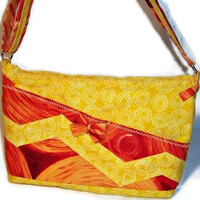 Handbag Yellow Orange Zig Zag Pockets Crossbody Bag Purse Bright