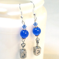 Jewish Dreidel Blue Lapis Swarovski Crystal Beaded Earrings