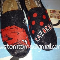 Arkansas Razorbacks Custom TOMS on Black Glitter