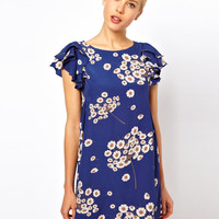 ASOS Shift Dress With Frill Shoulder In Floral Print at asos.com