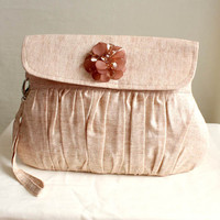 SALE Clutch Purse Linen Caramel with Brown Beaded Flower