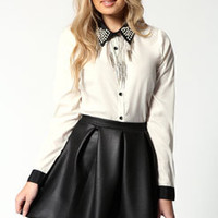 Liz Wet Look Scuba Box Pleat Skater Skirt
