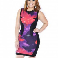 386-PRINT MINI BODYCON DRESS