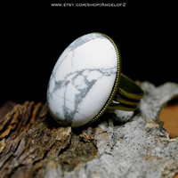 White Howlite Large Cabochon Stone Adjustable Band Ring