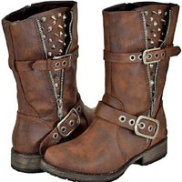 Breckelles Rocker-17 Brown Women Riding Boots, 10 M US
