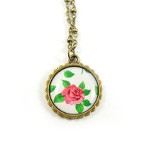 Rose Pendant Necklace - Pink Rose Necklace - Pink Rose Green Leaves - Garden Jewelry - Floral Jewelry