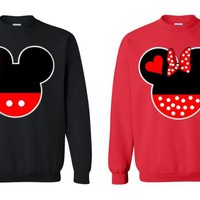 Couple Matching Crewneck MICKEY & MINNIE - red&black SWEATSHIRT couple LOVE