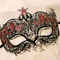 Black and Red Metallic Masquerade Mask