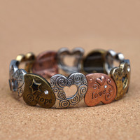 Peace,Hope and Love Stretch Bracelet- Heart to Heart