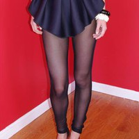 Sheer Noir Peplum Leggings from Muehleder