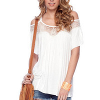 Laced Shoulders Top in White :: tobi