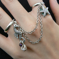 seahorse double ring seahorse starfish shells abalone chained double ring in beach summer hipster boho gypsy hippie and pirate  style